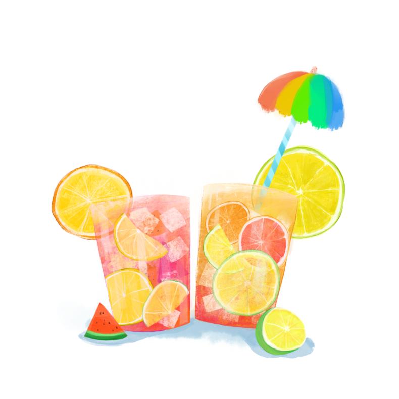 夏天果汁冷饮清新插画